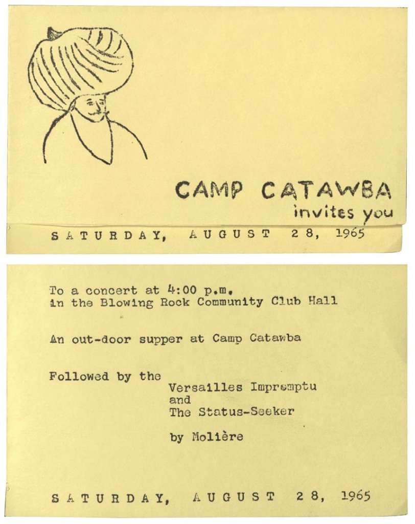 The camp would end each summer by inviting to the Blowing Rock community to free performances of advanced works like the one described in this 1965 invitation.