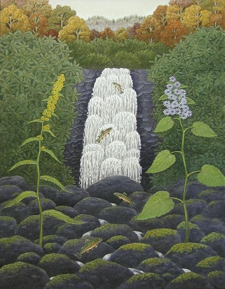 """Upper Blue Sea Falls, 28"""" x 20"""", gouache  by Robert Johnson;"""