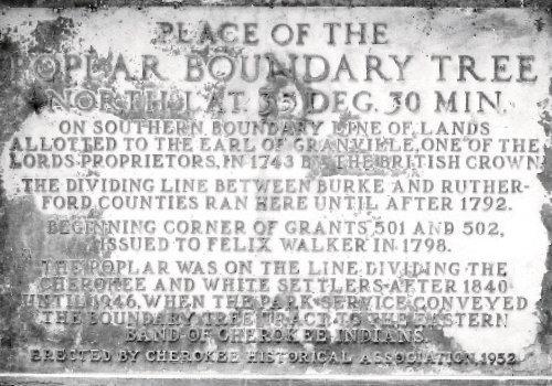 A plaque denotes a poplar boundary tree in Cherokee. Photograph courtesy of Grateful Steps, INC.