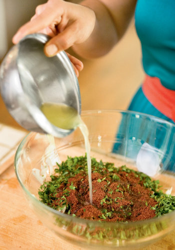 Lemon juice brings a zing to the tabbouleh made with flat-left parsley from the garden.