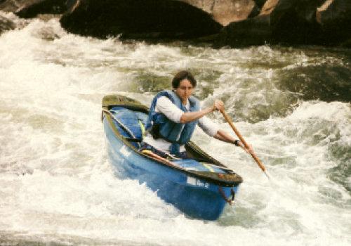 Bunny Johns; Paddling the Nantahala in 1993.