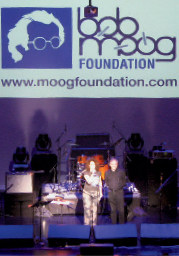Michelle and Larry Fast of Synergy discuss Bob Moog's legacy with a crowd during NEARFest in Pennsylvania.