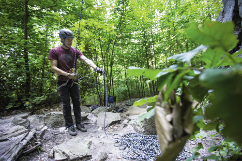 The New River Gorge contains more than 3,000 established climbing routes. Among them is an area on Beauty Mountain called The Brain, where Jeff Hearns from New River Mountain Guides instructs Kerry Meyer