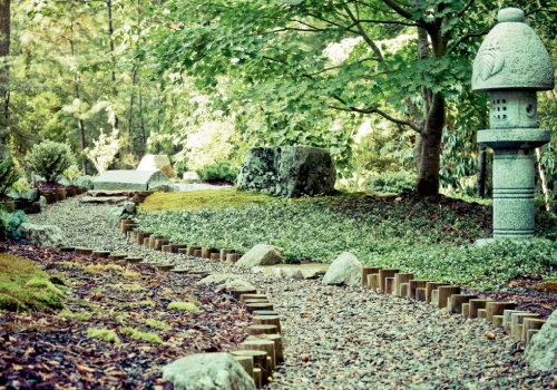 Peaceful journey: A path winds past a stone lantern, a cornerstone of Japanese gardens, in one of Oshita's private creations