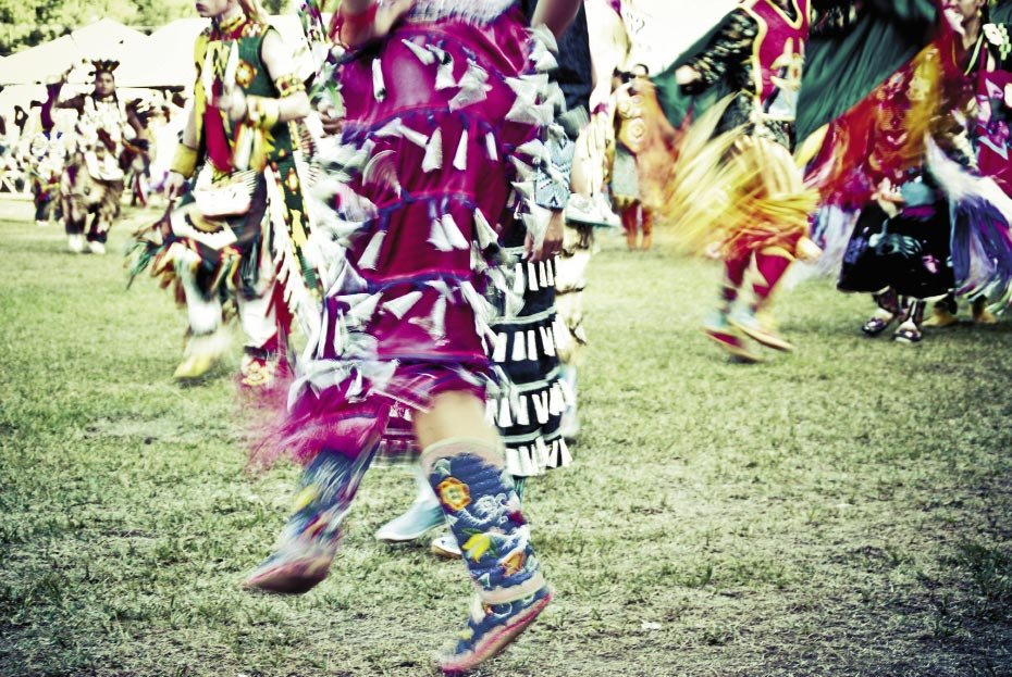 """motion & SounD Left, this dancer's skirt is  spangled with metal """"jingle"""" cones, and her  footwork is controlled and intricate. """"Each dance has its own personality. The Jingle Dance is poised and dignified. I love how the characteristic movements of each dance are recorded  differently by the camera."""""""