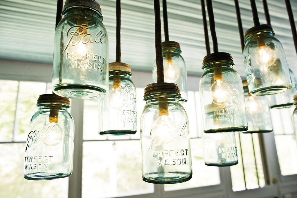 Mark designed and built a chandelier with Mason jars.