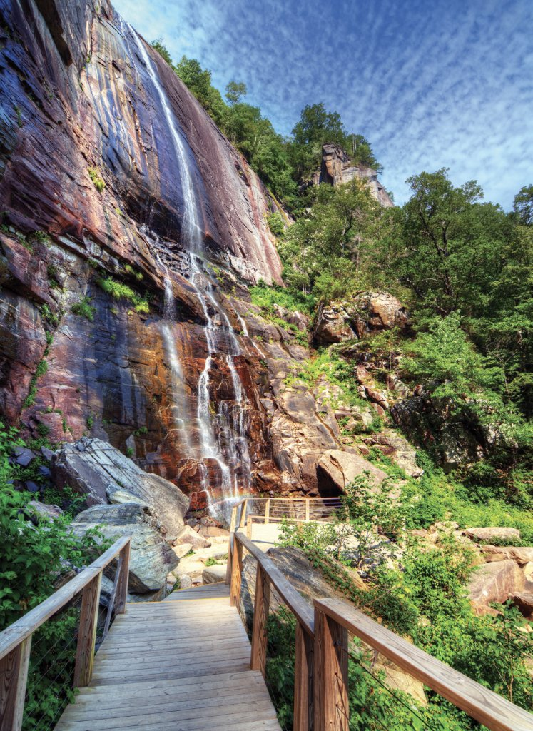 Water Feature At Chimney Rock State Park, a moderate 1.4-mile round-trip hike leads to the base of the 404-foot Hickory Nut Falls, one of the tallest cascades east of the Mississippi.