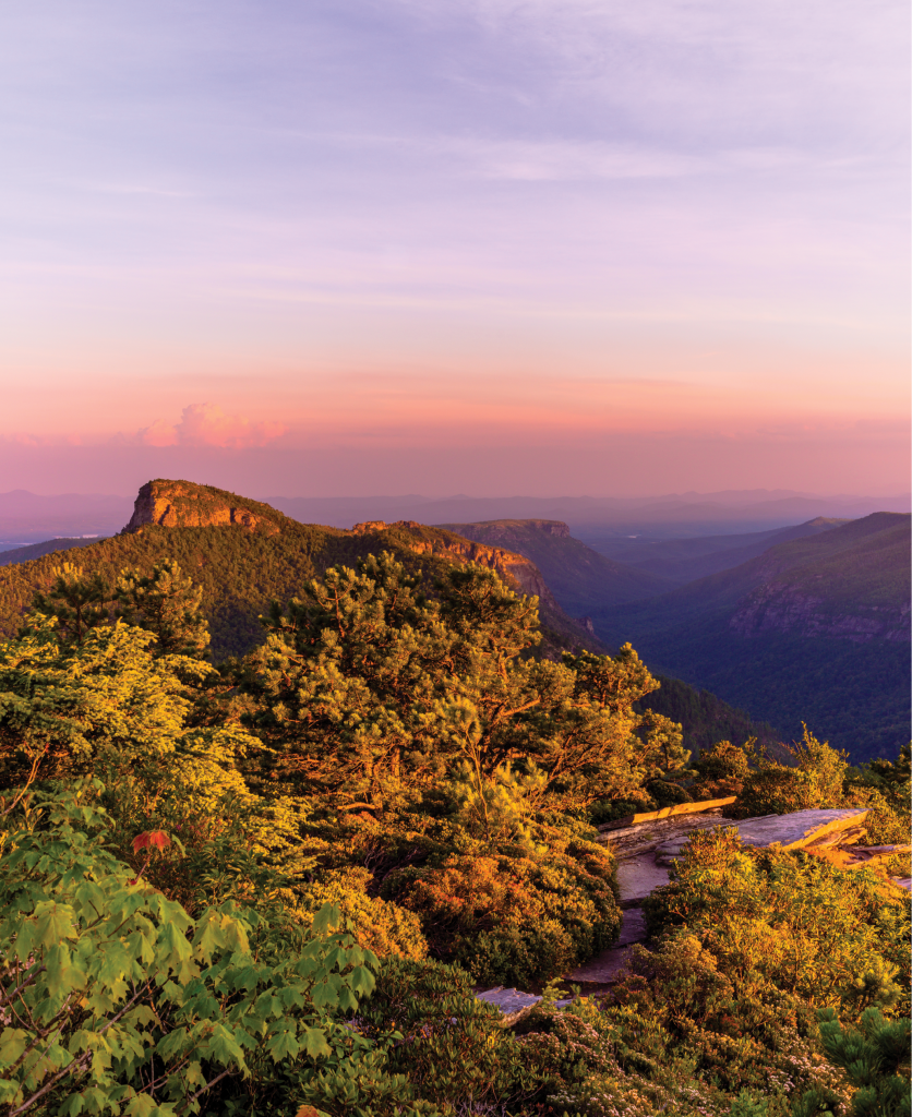 Sunset over the Linville Gorge, with a splendid view of Table Rock Mountain's rocky peaks
