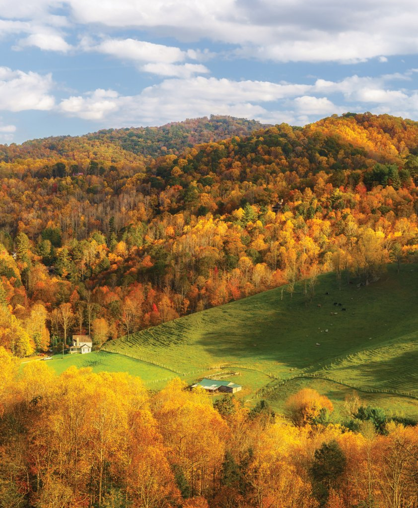 Farms dot the rural landscape in and around Valle Crucis, adding to the idyllic scenery.