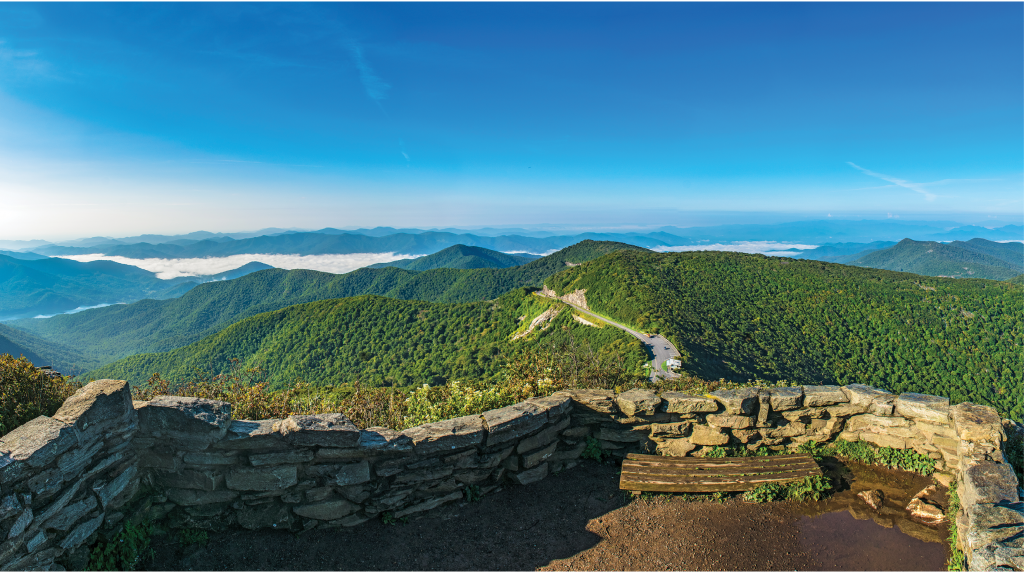 The view from the top of Craggy Gardens Pinnacle Trail in Pisgah National Forest
