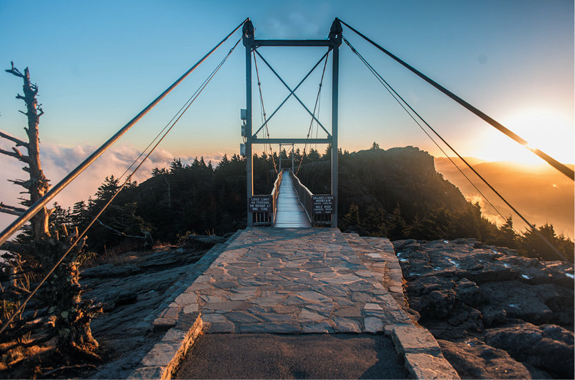 Grandfather Mountain's Mile High Swinging Bridge. Photo courtesy of Shutterstock/Menn Ooyen