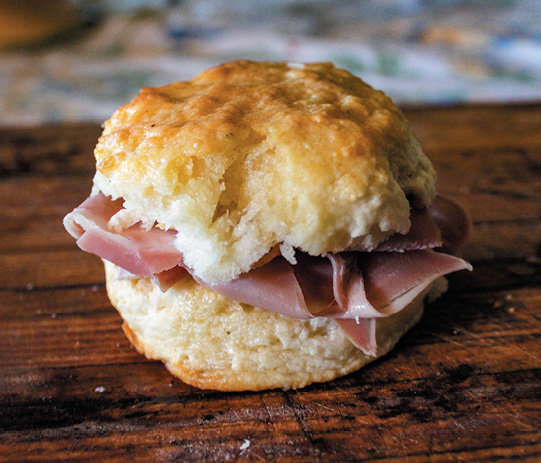 Ham biscuit. Photo courtesy of Shutterstock/ButtermilkgirlVirginia