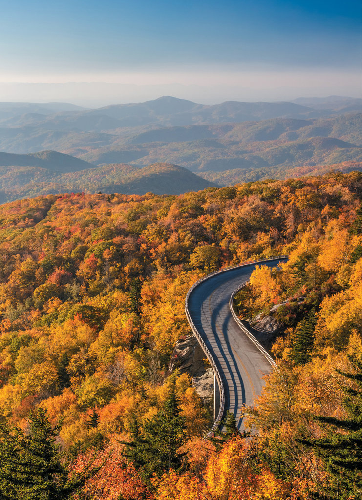Linn Cove Viaduct, milepost 304.4 on the Blue Ridge Parkway. Photo courtesy of Shutterstock/Pierre Leclerc