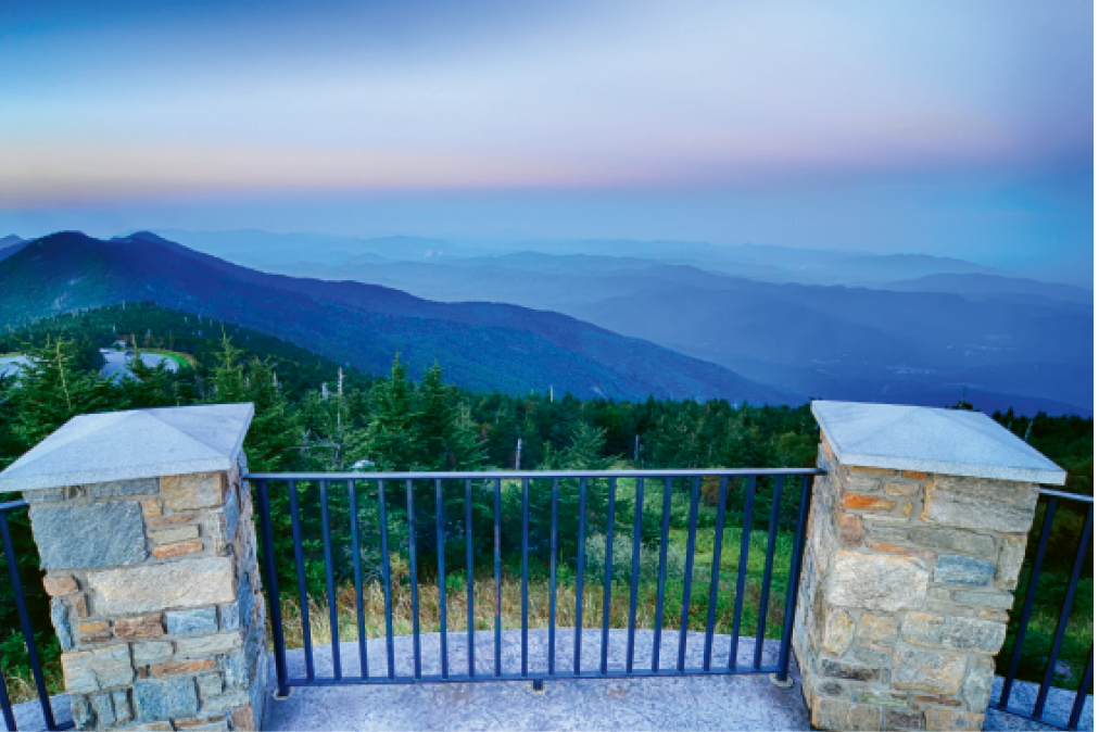 Mount Mitchell State Park: View from the Observation Deck at dusk