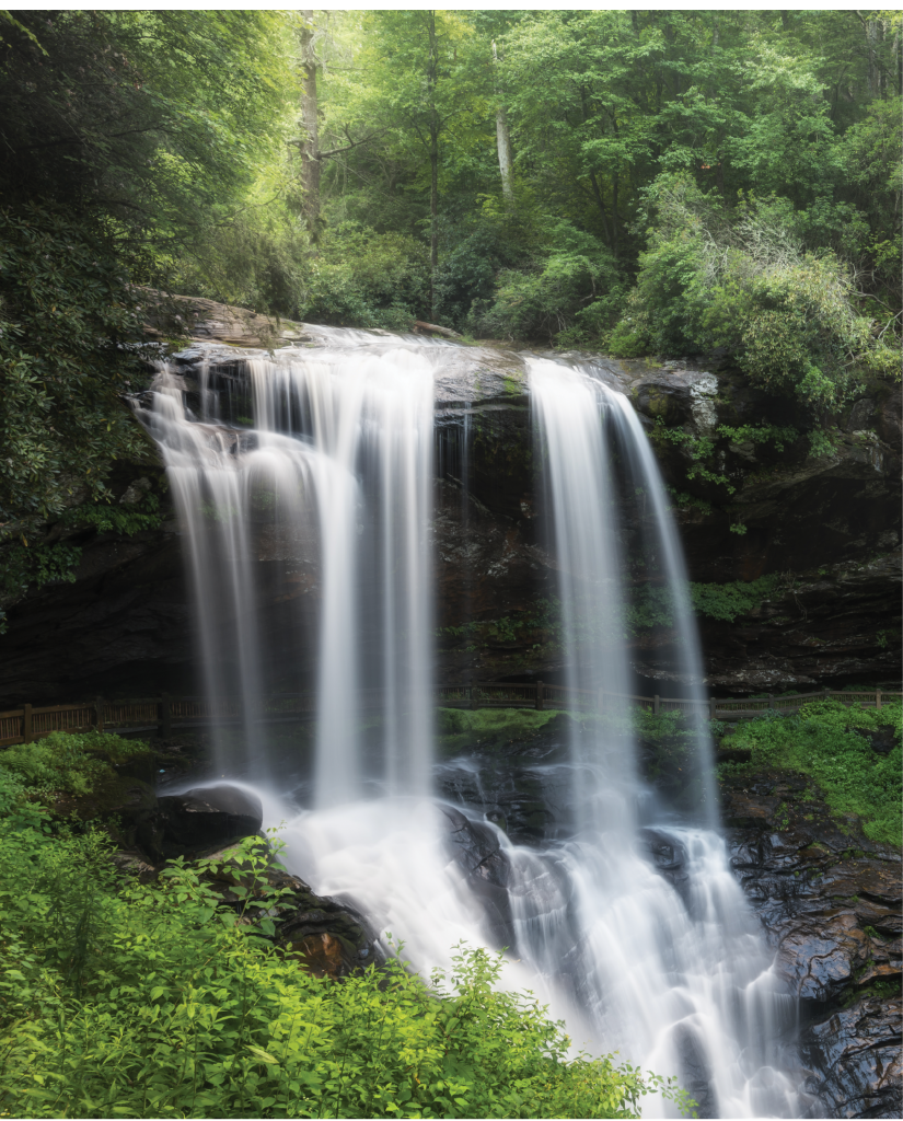 Dry Falls in Macon County, one of Nantahala National Forest's renowned scenic spots