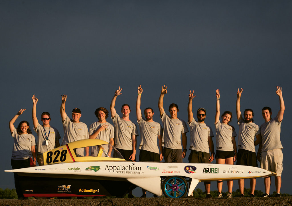 ASU students and collaborated to build Apportion. After a year of test runs and fine-tuning the sleek vehicle, Team Sunergy celebrated a third-place finish among 15 contestants in the 2016 Formula Sun Grand Prix.