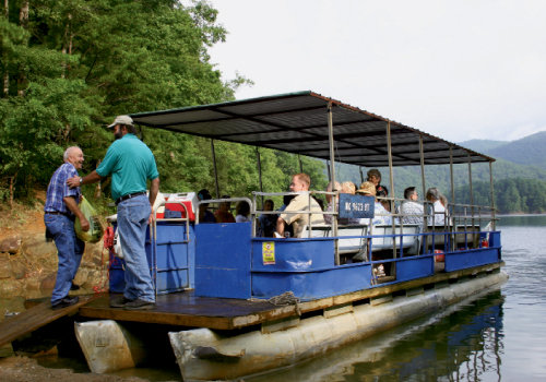Passengers board a ferry bound for Fontana Lake's north shore