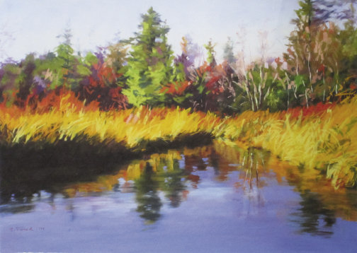 "Autumn Waters,  17"" x 24"", pastel  & gouache  by Coralie Tweed"