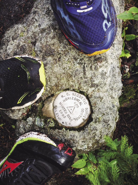 A geodetic survey marker atop Winter Star Mountain, which rises to 6,212 feet along the Black Mountain Crest Trail